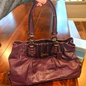 Coach Ashley Pleated Satchel in Purple Leather